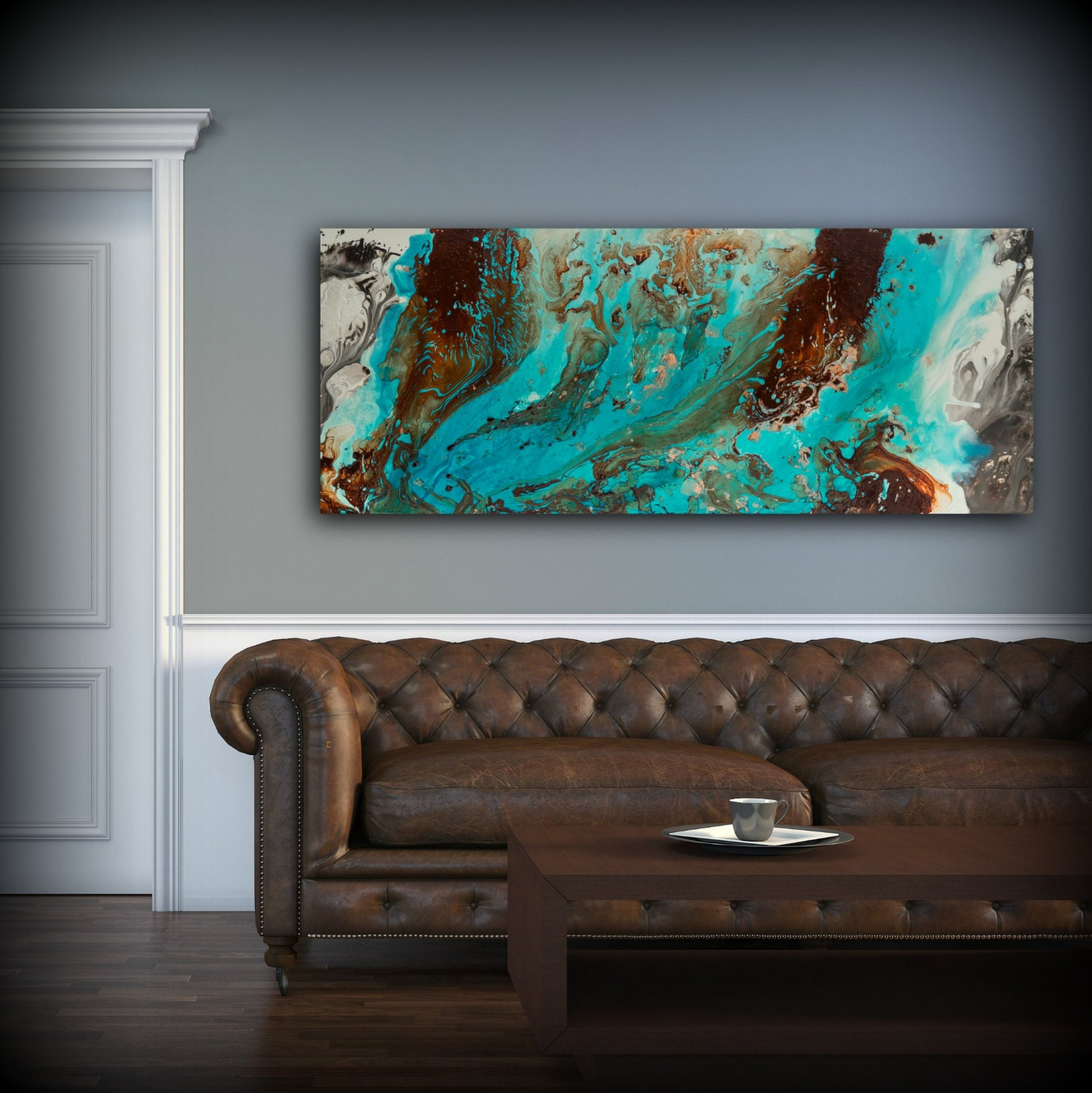 Teal And Brown Wall Art aqua print blue and brown wall art decor colourful bohemian