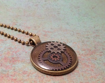 Steampunk Necklace, Gears, Antique Bronze, Set in Resin, # 2029