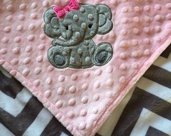 Personalized Minky Baby Blanket, Gray Chevron and Pink Minky, Elephant Blanket, Monogrammed Blanket