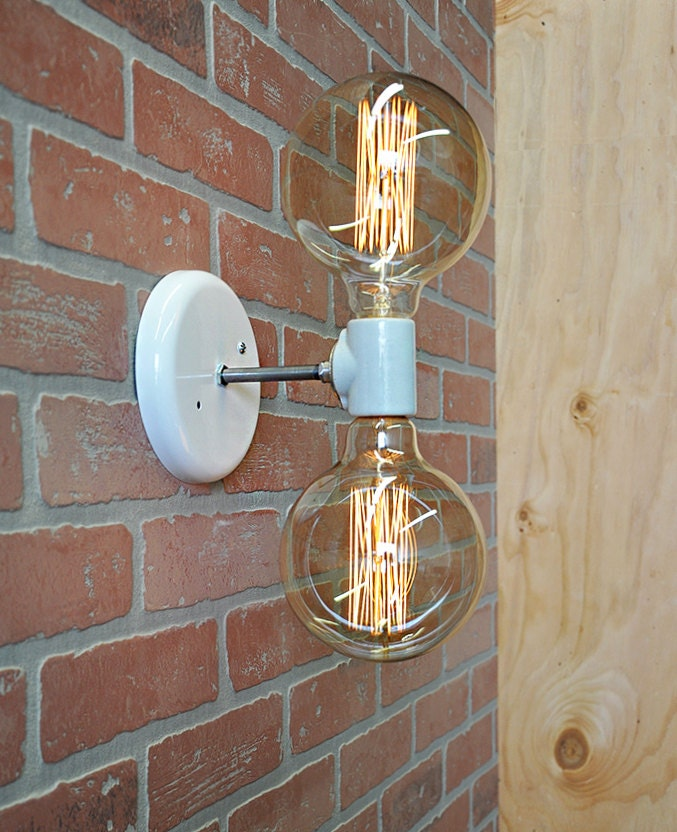 Double Industrial Wall Lights : Double Light Wall Sconce Industrial Wall Lamp With Edison