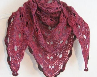 pink and purple shawl,  wool shawl,  crochet lace, merino wool, triangle shawl,