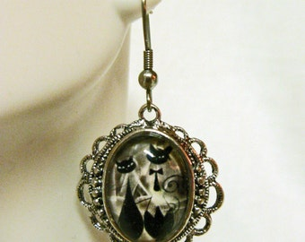 Tuxedo couple in black cat earrings - CAP06-004