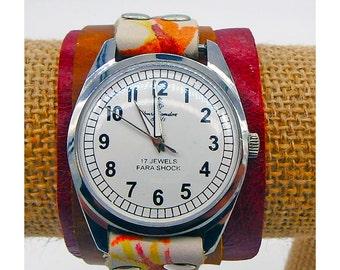 Handmade leather wrist cuff with Vintage Henri Sandoz & Fils Swiss made watch face