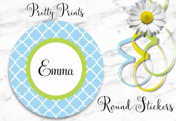 Personalized Stickers - Blue - Moroccan Print - Cloverleaf - Green - Set of 12 - Round Labels - Quatrefoil, Tags, Personalized Labels