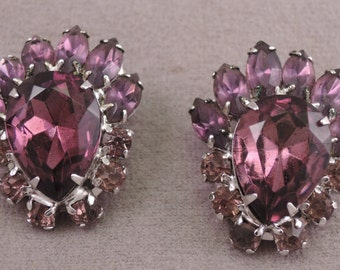 Bold Purple and Lavender Rhinestone Clip Earrings 1960-70s