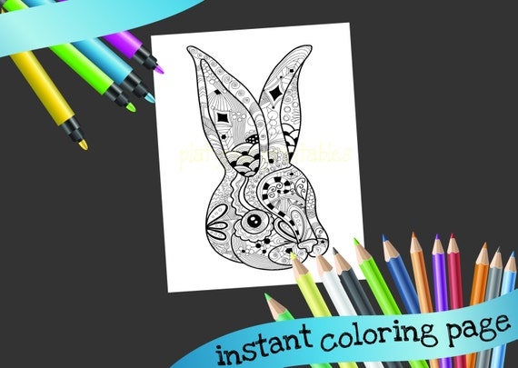 Rabbit coloring page detailed pattern Easter bunny PRINTABLE coloring page - INSTANT DOWNLOAD - zen coloring page