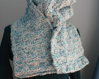 Cream and blue scarf knitted by hand