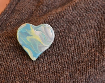 Blue and yellow heart pin
