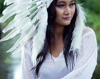 Native American  Indian Feather Headdress ~ Mardi Gras ~ Costume ~Party~ Hens~ Chief Headpiece~Halloween