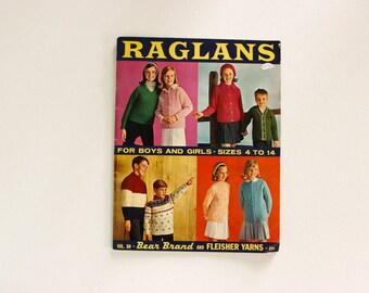 1964 Raglans Childrens Sweater Knitting Book · sz 4-14 · Vintage Retro Pullovers Cardigans
