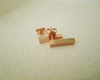 PINK gold BAR SHINE - rose gold plated Bar Earrings, gold minimalist bar studs