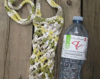 Cotton Water Bottle Holder - Green/Beige/Yellow