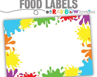 826 Food Labels: Paint Party Candy or Buffet Labels - Instant Downloadable File