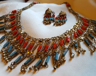Egyptian revival neclace and earring set.