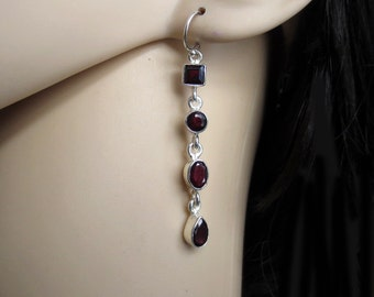 Long Garnet Earrings, Red Garnet Silver Earring, Special Occassions,  Garnet Jewelry, January Birthstone, Gift for Her