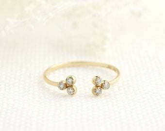 14k gold diamond trio ring, tiny diamond open ring, cluster ring, dainty ring, rose gold, white gold option, dal-r103