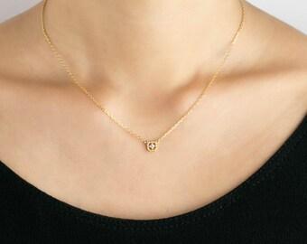 14k gold diamond necklace, diamond floating necklace, tiny diamond necklace, square necklace, rose gold, white gold yellow gold