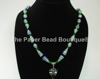 Paper Bead Necklace, Handmade Jewelry Seahawks Triangle