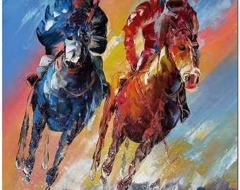 Polo Match - Hand Painted Impressionist Oil Painting On Canvas ARTIST CERTIFICATE INCLUDED