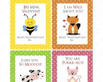 Printable Valentine cards for kids. Bee mine valentine, fox Valentine, cow valentine, cat valentine.
