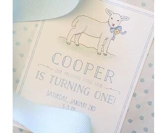 Little lamb Birthday Invitation