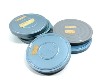 """Vintage Metal Film Reel and Canister Set with Old Home Movie Film, 7"""" Across"""