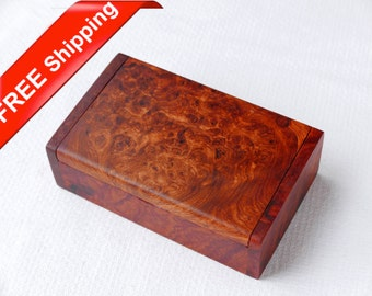 "4"" Premium Rosewood Burl Box, Jewelry Box, Cigarette Box, Storage Box, Trinket Box"