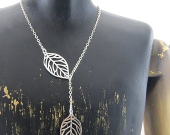 Sterling silver lariat necklace, leaf necklace, leaf lariat necklace, y necklace, sterling silver y necklace, leaf y necklace, nature