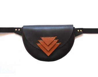 LEATHER HIP BAG / Cowhide Handmade hip bag