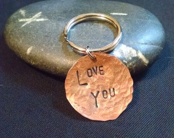 DISCOUNTED - Love You - Hand Stamped Key Chain
