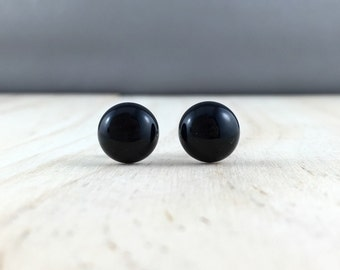 Black onyx stud earrings jet black gemstone, sterling silver, black earrings, black stud earrings, monochrome, onyx earrings, jet earrings