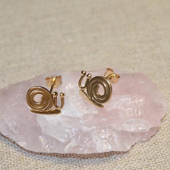 Gold Stud Earrings - Snail Post Earrings - Ear Lobe Jewelry - Cartilage Earring - 20 Gauge Helix Piercing - Conch Earring