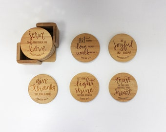 Hand Lettered Coasters, Bible Verses, Round Wood Coaster, Engraved Coasters, Housewarming Gift - Set of 6 --22049-CST1-001
