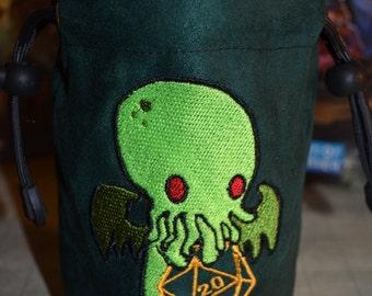 Dice Bag custom Embroidery D20 cthulhu
