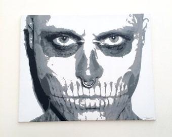 "Rick Genest ""Zombie Boy"" Canvas Stencil Art 30"" x 24"""