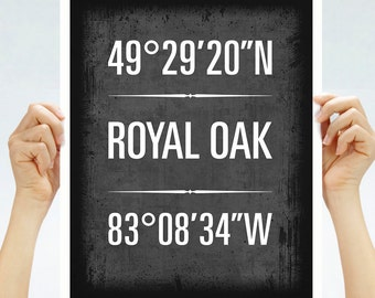 "Royal Oak, Michigan, Geographic Coordinate Print,  8"" x 10"" or 11"" x14"""
