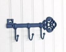 Skeleton Key Hook/Keys Holder/Blue Wall Decor/Leash Hook/ Steampunk/SSLID0132/Shabby Chic Decor/Decorative Hook/ Housewarming Gift