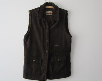 Large Womens Vest Long Everyday Outdoor Vest Dark Brown Ranch Waistcoat