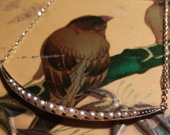 Estate Victorian Edwardian 14k 14c Yellow Gold and Seed Pearl Crescent Moon Necklace - vintage jewellery jewelry