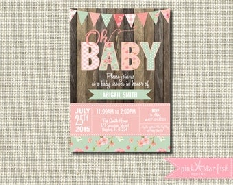 Baby Shower Invitation, Shabby Chic Baby Shower Invitation, Rustic Baby Shower Invitation, Shabby Chic Invitation, Burlap, Vintage Shower