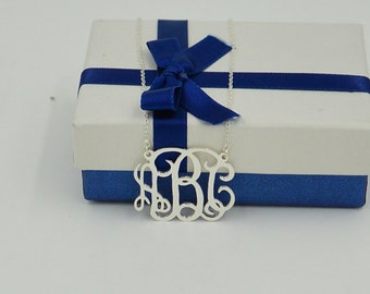 Monogram necklace silver-monogrammed necklace-925 sterling silver monogram gift for everyone-personalized handmade jewelry