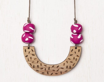 Delta - Geometric Confetti Wood Necklace with Polymer Clay beads - fuschia pink - laser cut