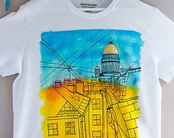Hand painted Colorful Cotton Men T-shirt: Sunrise in Saint-Petersburg. SIZE L is ready to ship!