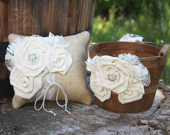 Rustic Flower Girl Basket and Ring Bearer Pillow Set, Burlap Ring Bearer, Rustic Flower Girl Basket, Rustic Flower Girl and Ring Bearer Set