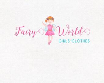 Fairy logo design, pink watercolor, girls logo, children branding