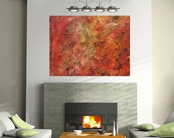 Texture Painting On Wood - Modern Abstract Art - Modern Fine Art  - Red Abstract Paintings - Wood Wall Art - Red Paintings  Red Abstract Art