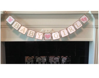 Banner, Baby Girl Banner, Its A Girl Banner- Baby Shower Decorations - Baby Announcements, Custom Banner, Rustic Banner
