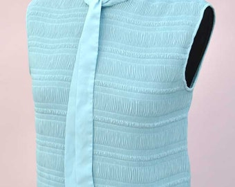 Vintage 60s Baby Blue Sleeveless Secretary Blouse with Pussy Bow