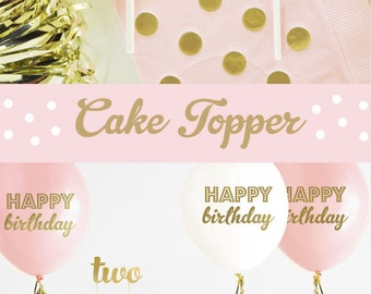 TWO Cake Topper - 2nd Birthday Cake Topper - Second Birthday Cake Topper - Pink and Gold 2nd Birthday Cake Topper (EB3116)