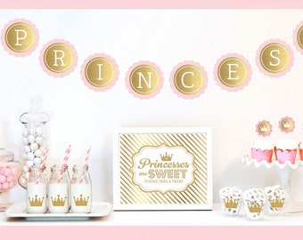 Pink and Gold Princess Party Decorations - Pink and Gold Princess Birthday Decor Pink Princess Golden First Birthday Party Girl (EB4011PRX)